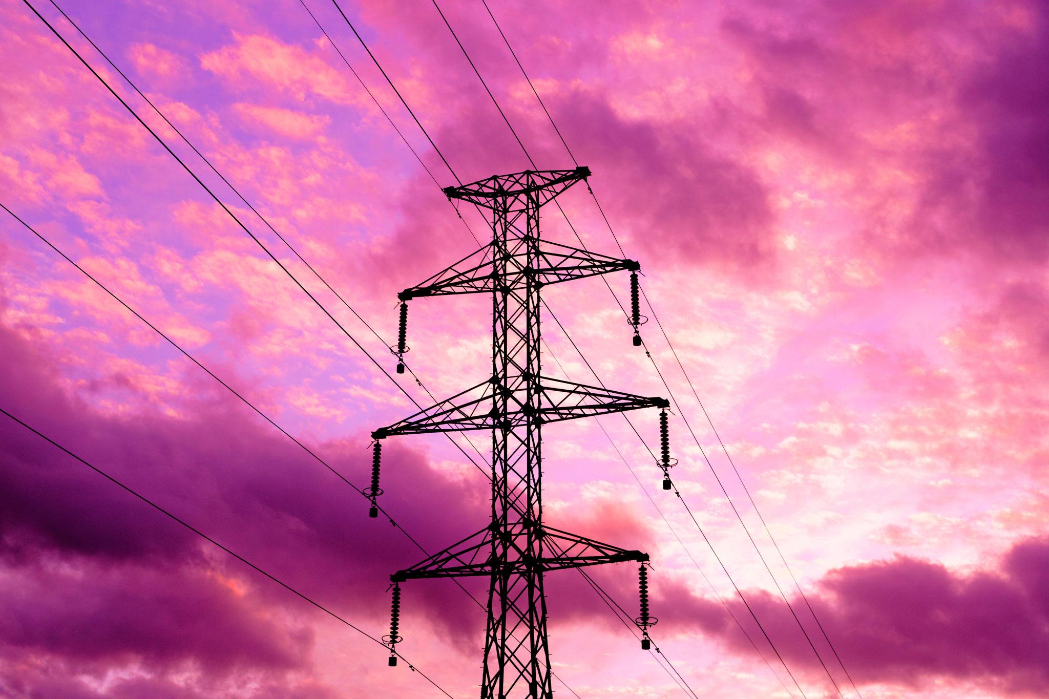 Ligne haute tension et coucher de soleil Stéphane Thirion étix photographe Virton