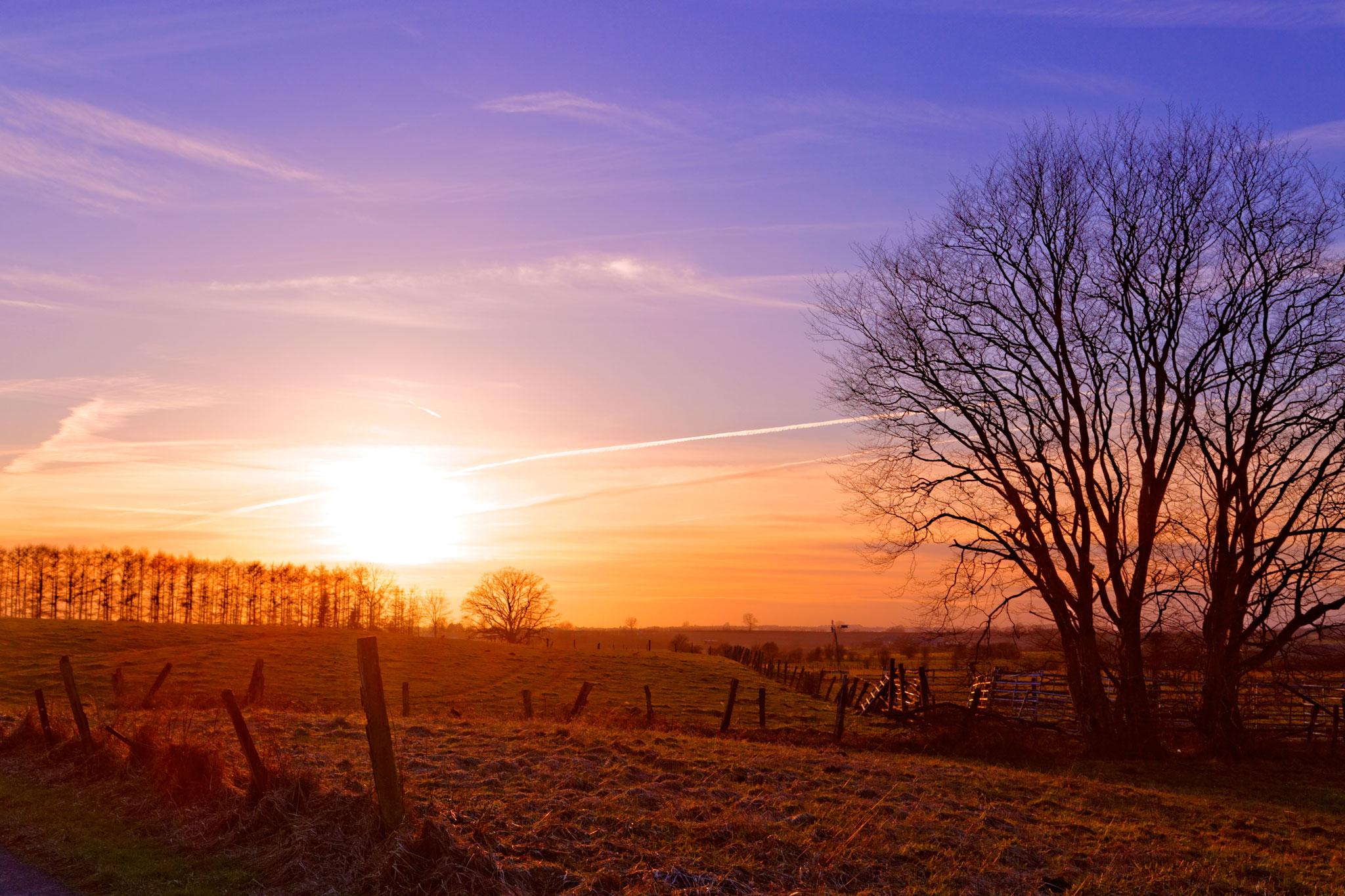 Campagne et coucher de soleil par Stéphane Thirion photographe pro