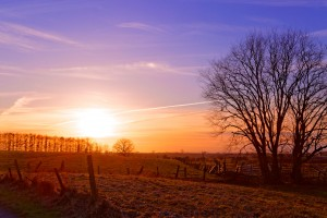 Campagne et coucher de soleil par Stéphane Thirion