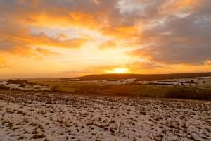 Coucher de soleil et vallée enneigée par Stéphane Thirion